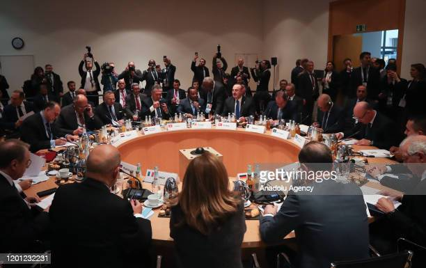 Turkish Foreign Minister Mevlut Cavusoglu attends foreign ministers' meeting to discuss recent efforts for cease-fire in Libya as part of Berlin...