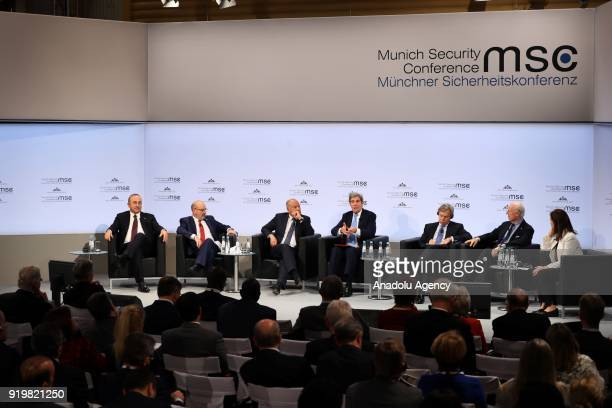 Turkish Foreign Minister Mevlut Cavusoglu attends the Enlargement of Gulf discussion platform on the sidelines of 'Munich Security Conference' in...
