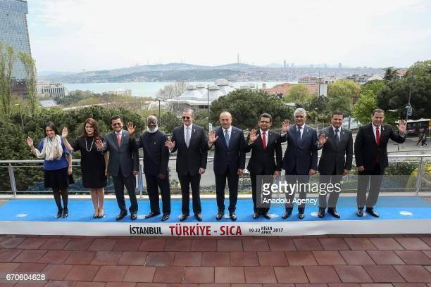 Turkish Foreign Minister Mevlut Cavusoglu Costa Rica's Foreign Minister Manuel Gonzalez Sanz and SICA executive director Werner Isaac Vargas Torres...