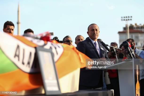 Turkish Foreign Minister Mevlut Cavusoglu delivers a speech during a ceremony held for Czech striker of Turkish football club Alanyaspor Josef Sural...