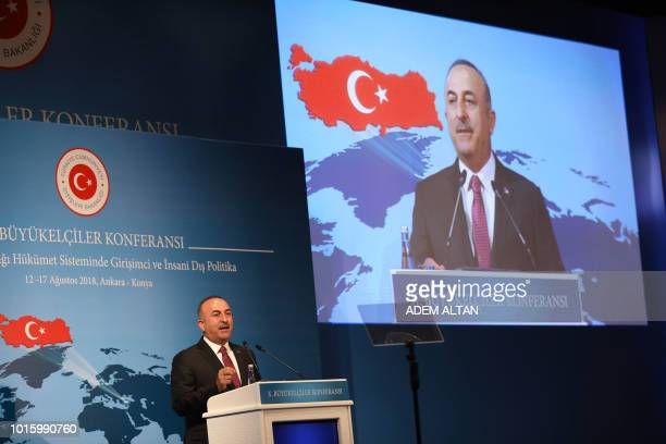 Turkish Foreign minister Mevlut Cavusoglu delivers a speech during the 10th ambassadors' conference at Sheraton Hotel in Ankara on August 13 2018