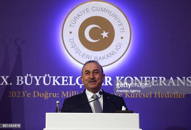 Turkish Foreign Minister Mevlut Cavusoglu delivers a speech during the 9th Ambassadors Conference in Ankara Turkey on January 11 2017