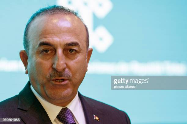 Turkish Foreign Minister Mevlut Cavusoglu delivers a statement during the International Tourism trade fair in Berlin, Germany, 07 March 2018. Photo:...