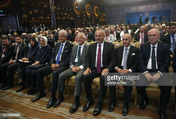 Turkish Foreign Minister Mevlut Cavusoglu former Ministers of Foreign Affairs of Turkey Murat Karayalcin Hikmet Cetin Feridun Sinirlioglu and...