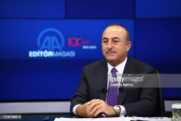 Turkish Foreign Minister Mevlut Cavusoglu gestures as he is a special guest of Anadolu Agencyâs Editor Desk in Ankara, Turkey on September 30, 2020.