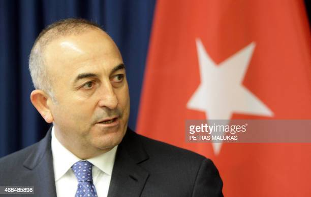 Turkish Foreign Minister Mevlut Cavusoglu gives a press conference with his Lithuanian counterpart in Vilnius on April 3 2015 Cavusoglu said Turkey...