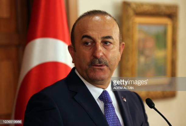 Turkish Foreign Minister Mevlut Cavusoglu holds a joint press conference with his Deputy Prime Minister of the Turkish Republic of Northern Cyprus...