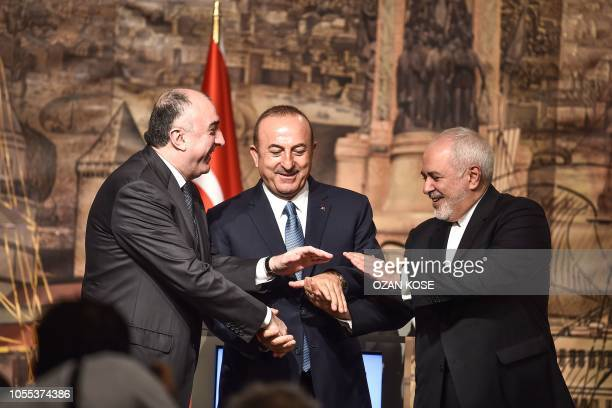 Turkish Foreign Minister Mevlut Cavusoglu Iranian Foreign Minister Mohammad Javad Zarif and Azeri Foreign Minister Elmar Mammadyarov attend a press...