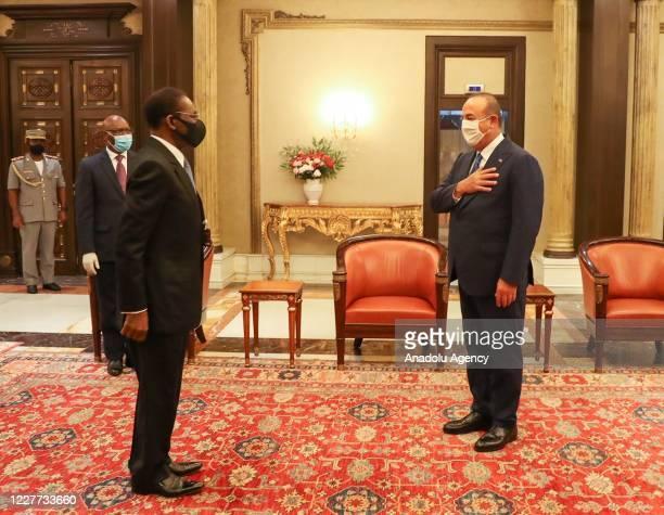 Turkish Foreign Minister Mevlut Cavusoglu meets President of Equatorial Guinea Obiang Nguema Mbasogo in Malabo, Equatorial Guinea on July 22, 2020