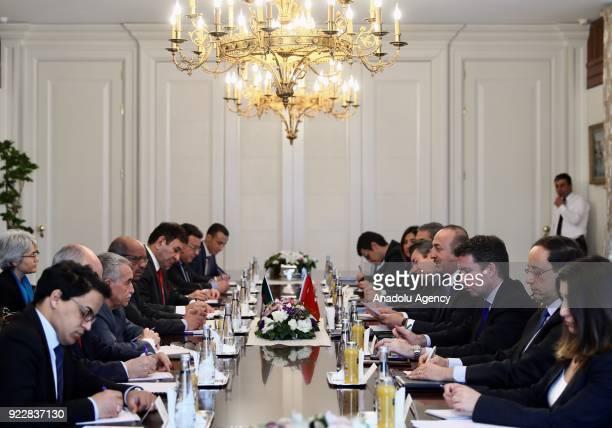 Turkish Foreign Minister Mevlut Cavusoglu meets with Algerian Foreign Minister Abdelkader Messahel in Ankara Turkey on February 22 2018