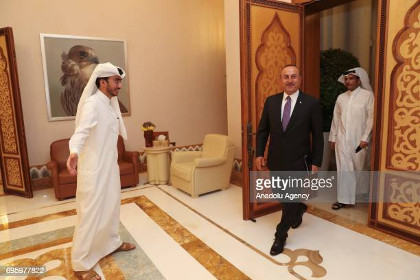 Turkish Foreign Minister Mevlut Cavusoglu meets with Emir of Qatar Tamim bin Hamad Al Thani in Doha Qatar on June 14 2017