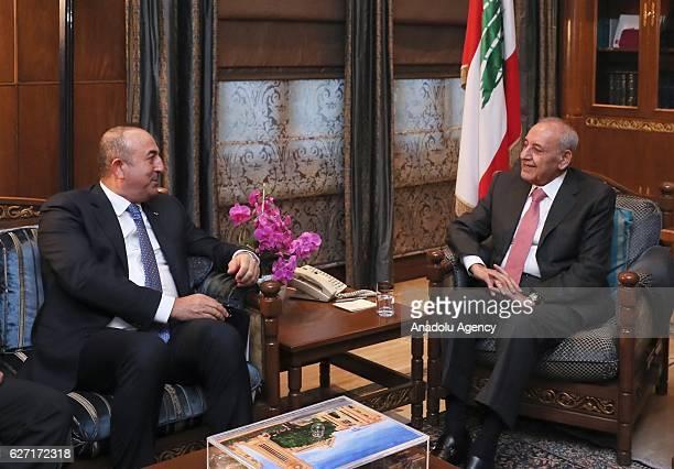 Turkish Foreign Minister Mevlut Cavusoglu meets with Lebanese Parliament Speaker Nabih Berri in Beirut Lebanon on December 02 2016