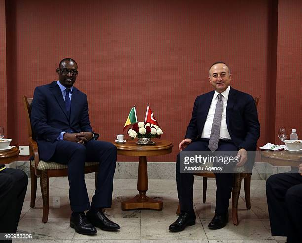 Turkish Foreign Minister Mevlut Cavusoglu meets with Malian Foreign Affairs Minister Abdoulaye Diop in Brasilia Brazil on January 01 2015