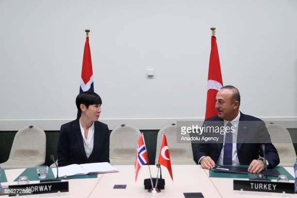 Turkish Foreign Minister Mevlut Cavusoglu meets with Norway's Foreign Minister Ine Marie Eriksen Soreide within the NATO Foreign Ministers meeting...