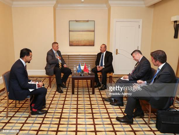 Turkish Foreign Minister Mevlut Cavusoglu meets with Special Representative of the United Nations in Iraq Jan Kubis in New York United States on...