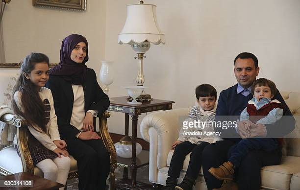 Turkish Foreign Minister Mevlut Cavusoglu meets with Syrian Bana Alabed sevenyearold girl who tweeted on attacks from Aleppo and her family at...