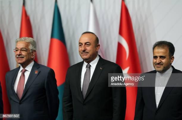 Turkish Foreign Minister Mevlut Cavusoglu Pakistani Foreign Minister Khawaja Mohammed Asif and D8 Secretary General Seyyid Ali Mohammed Musavi pose...