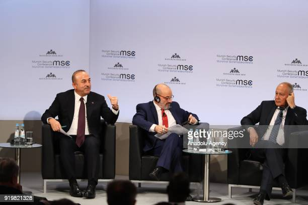 Turkish Foreign Minister Mevlut Cavusoglu speaks as he attends the Enlargement of Gulf discussion platform on the sidelines of 'Munich Security...