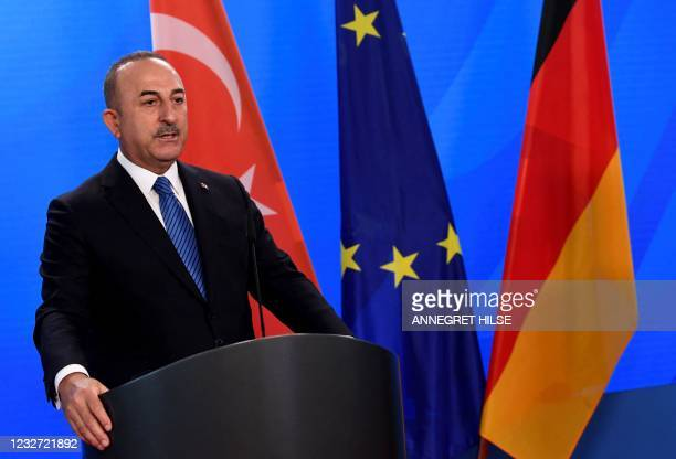 Turkish Foreign Minister Mevlut Cavusoglu speaks during a joint press conference following a meeting with his German counterpart in the foreign...