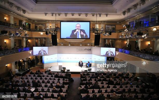 Turkish Foreign Minister Mevlut Cavusoglu speaks during a panel discussion within the Munich Security Conference in Munich Germany on February 19 2017
