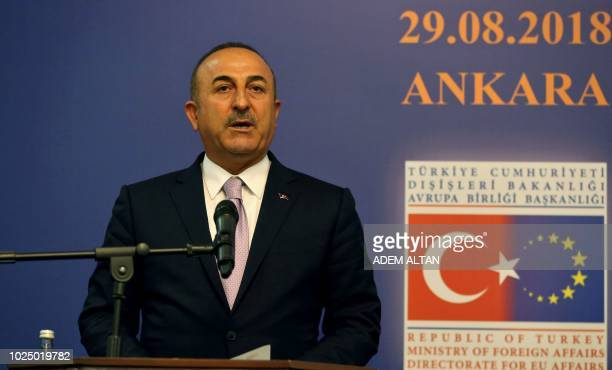Turkish Foreign Minister Mevlut Cavusoglu speaks during a press conference after a Reform Action Group meeting held by the Presidency of the European...