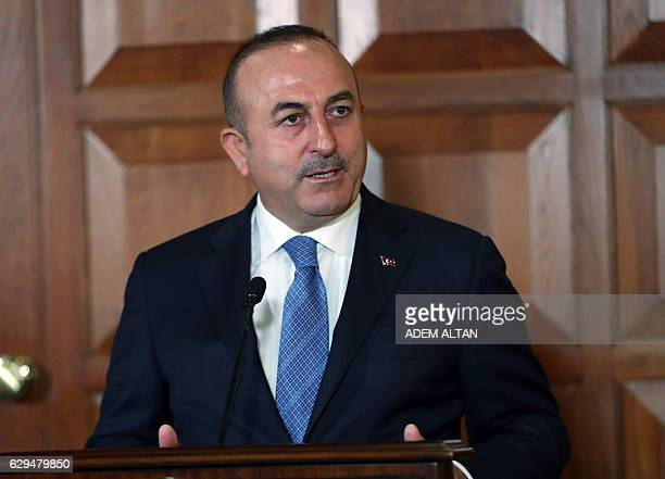 Turkish Foreign Minister Mevlut Cavusoglu speaks during a press conference following a meeting with Czech Republic's Foreign Minister in Ankara on...