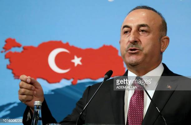 Turkish Foreign Minister Mevlut Cavusoglu speaks during the 10th Ambassadors' Conference at the Sheraton Hotel in Ankara Turkey on August 13 2018