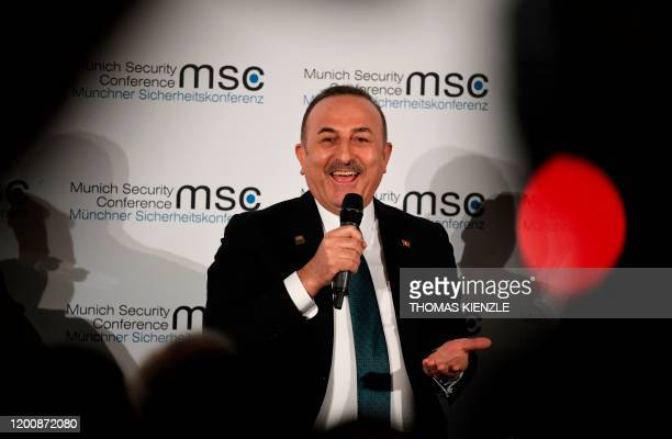 Turkish Foreign Minister Mevlut Cavusoglu speaks during the 56th Munich Security Conference in Munich, southern Germany, on February 15, 2020. - The...