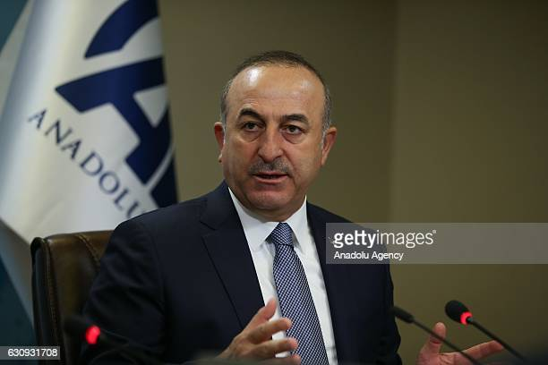 Turkish Foreign Minister Mevlut Cavusoglu speaks to media at Anadolu Agency in Ankara Turkey on January 04 2017