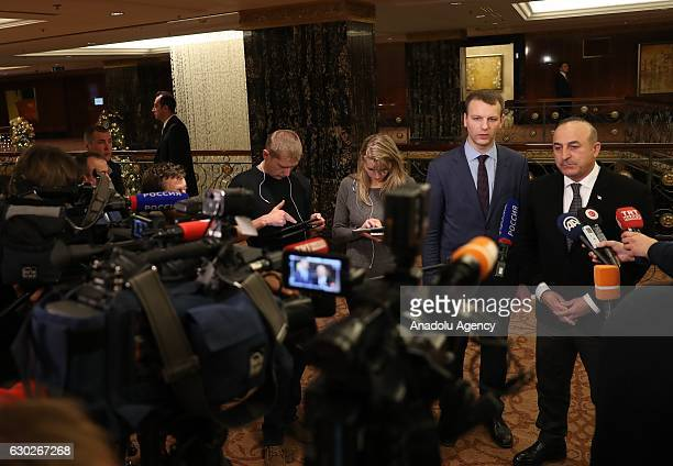 Turkish Foreign Minister Mevlut Cavusoglu speaks to media in Moscow Russia on December 19 2016 following the gunman attack that killed Russian...