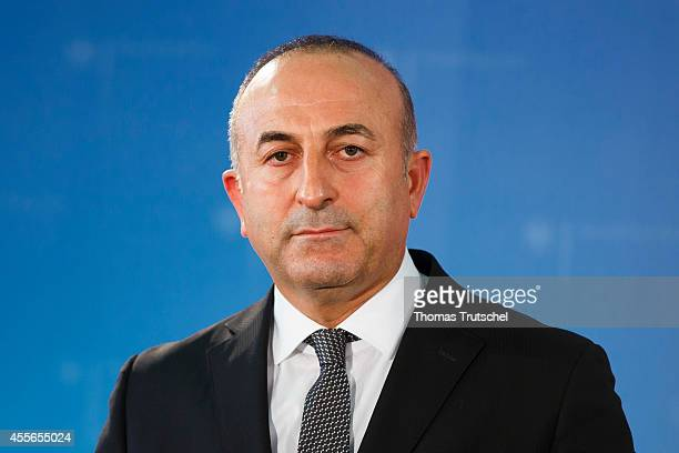 Turkish Foreign Minister Mevlut Cavusoglu speaks to the media after his meeting with German Foreign Minister FrankWalter Steinmeier on September 18...