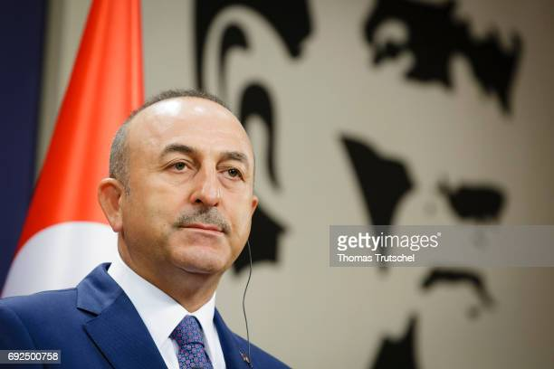 Turkish Foreign Minister Mevlut Cavusoglu speaks to the media after his meeting with German Foreign Minister and Vice Chancellor Sigmar Gabriel on...
