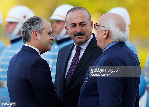 Turkish Foreign Minister Mevlut Cavusoglu Turkey's Youth and Sports Minister Cagatay Kilic and Turkish Culture and Tourism Minister Nabi Avci talk to...