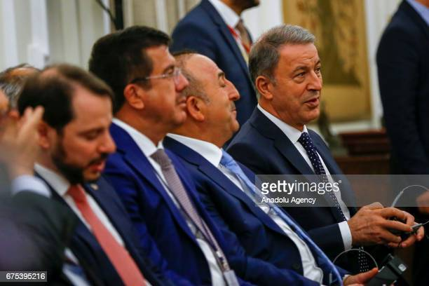 Turkish Foreign Minister Mevlut Cavusoglu Turkish Economy Minister Nihat Zeybekci Turkish Minister of Energy and Natural Resources Berat Albayrak and...