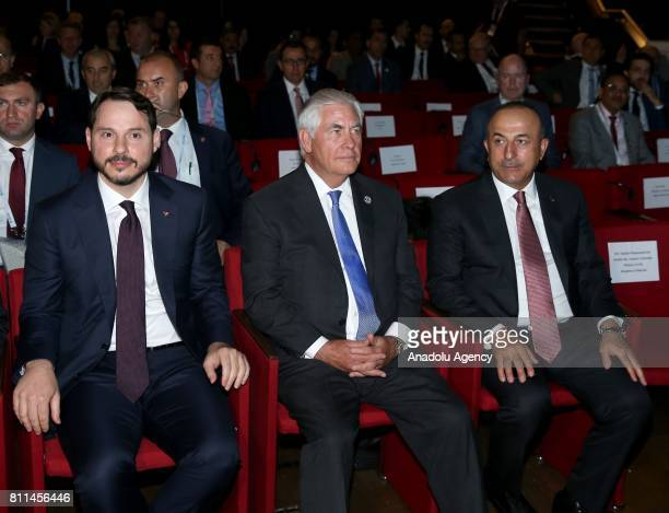 Turkish Foreign Minister Mevlut Cavusoglu US Secretary of State Rex Tillerson and Turkey's Energy and Natural Resources Minister Berat Albayrak are...