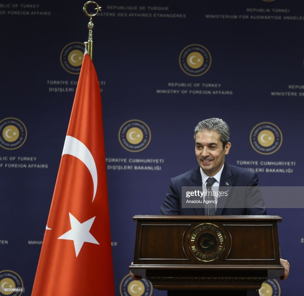 Turkish Foreign Ministry spokesman Hami Aksoy delivers a speech during a press conference in Ankara, Turkey on February 21, 2018.
