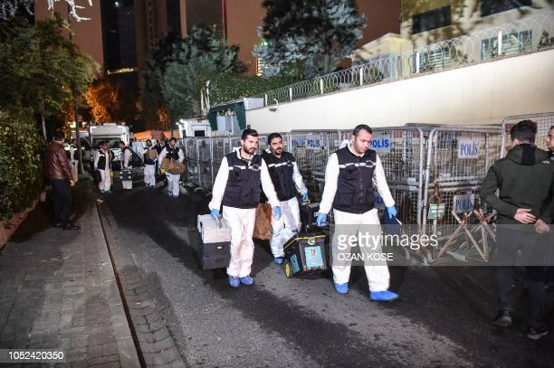 Turkish forensic police officers leave after gathering evidence at the Saudi Arabian consulate in Istanbul early on October 18 2018 A team of Turkish...
