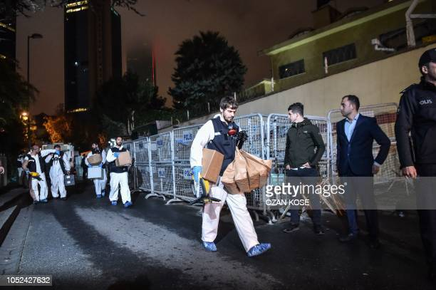 Turkish forensic police officers leave after searching evidence at the Saudi Arabiain Consulate on October 18 2018 in Istanbul Saudi Arabia's consul...