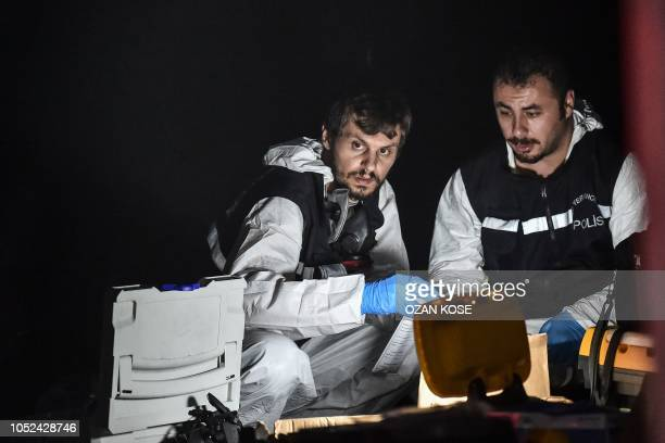 Turkish forensic police officers search for evidence at the Saudi Arabian consulate on October 17 2018 in Istanbul Saudi Arabia's consul to Istanbul...