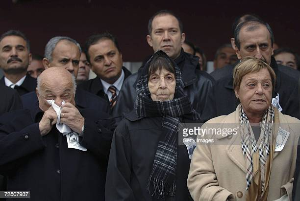 Turkish former president Bulent Ecevit's wife Rahsan Ecevit and former Turkish Cypriot president Rauf Denktas attend the funeral of Former Prime...