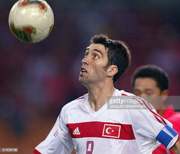 Turkish forward Hakan Sukur is seen in action against South Korea in their third place playoff match at Daegu World Cup stadium for the 2002 FIFA...