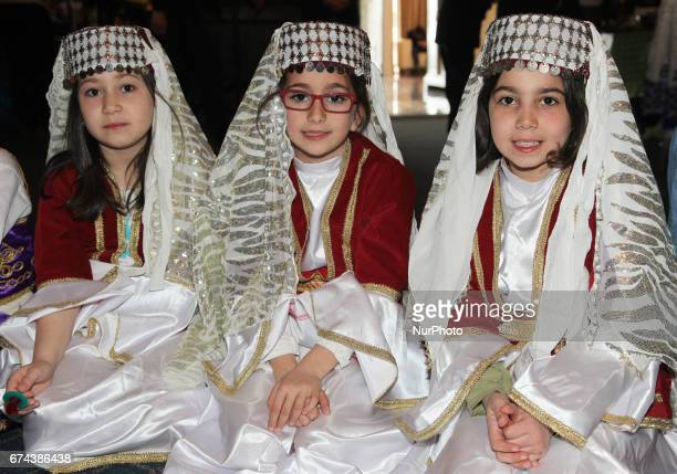 Turkish girls dressed in traditional attire during Nevruz celebrations in Toronto Canada Nevruz which means 'new day' marks the first day of Spring...