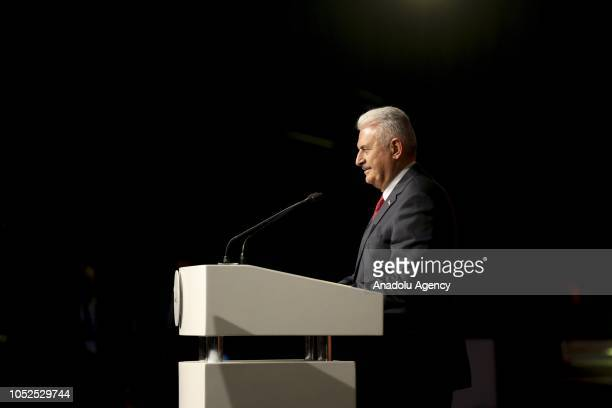 Turkish Grand National Assembly Speaker Binali Yildirim delivers a speech during the opening ceremony of the SOCARs STAR Refinery Project in Aliaga...