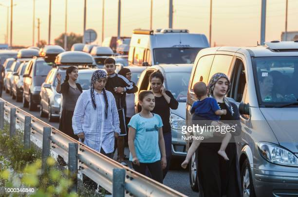 Turkish guest workers come back home for a summer holiday Kapitan Andreevo on July 16 2018 More than 8 000 cars and near 32 000 guest workers crossed...