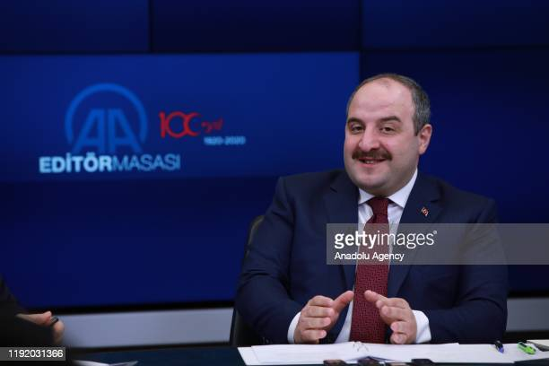 Turkish Industry and Technology Minister Mustafa Varank speaks as he is special guest of Anadolu Agency's Editors Desk in Ankara Turkey on January 06...