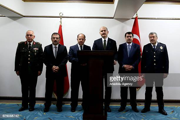 Turkish Interior Minister Suleyman Soylu accompanied by Health Minister Recep Akdag , Istanbul Governor Vasip Sahin , Turkey's Chief of Police Selami...