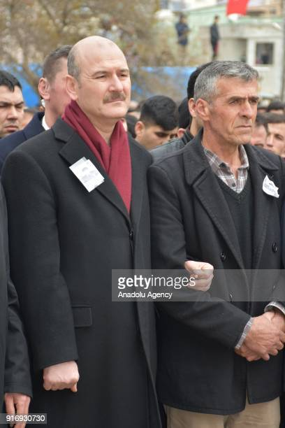Turkish Interior Minister Suleyman Soylu and father Imam Sariaslan of Infantry Sergeant Enes Sariaslan who was martyred within the Operation Olive...