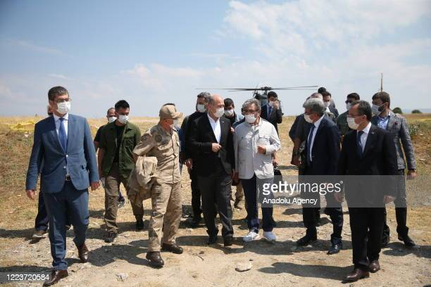 Turkish Interior Minister Suleyman Soylu inspects the searching works carried out by AFAD, Gendarmerie, Coast Guard and Gendarmerie Search and Rescue...