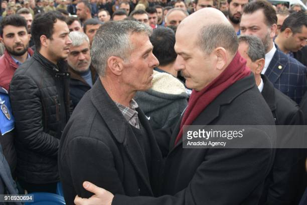Turkish Interior Minister Suleyman Soylu offers his condolences to father Imam Sariaslan of Infantry Sergeant Enes Sariaslan who was martyred within...