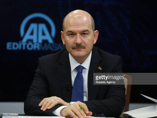 Turkish Interior Minister Suleyman Soylu poses for a photo as he is special guest of Anadolu Agency's Editors Desk in Ankara Turkey on October 17 2018